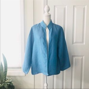Eileen Fisher Blue High Collar Kimono Open Jacket